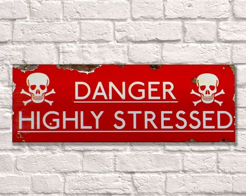 Danger Highly Stressed Rusty Metal Sign 20cm x 56cm